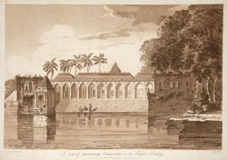 'North view of Miaveram Choultry in the Tanjore Country'. Uncoloured aquatint by J. Wells after a drawing on the spot by Capt. Trapaud, part of a set of his twenty views published London, 1788